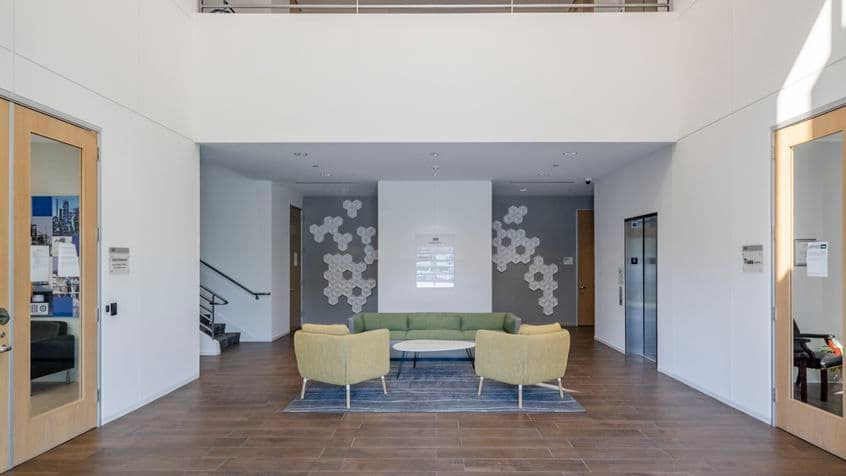 Interior view of lobby in 300 Commerce at Market Place Center in Irvine, CA.