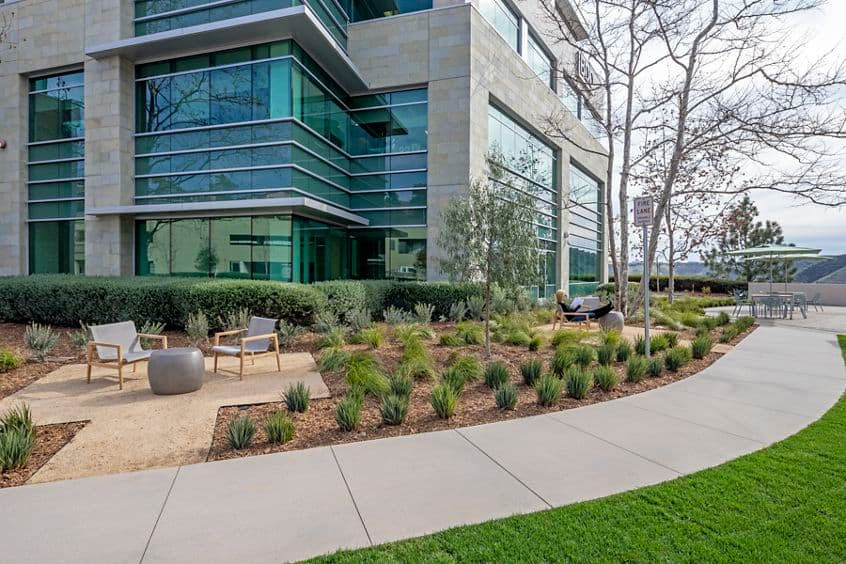 After photography of the outdoor workspace reinvestment at Gateway at Torrey Hills in San Diego, CA