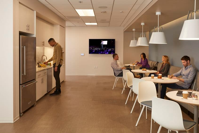 Interior view of kitchen at Paseo Del Mar 12275 El Camino Real, Suite 130 in San Diego, CA.