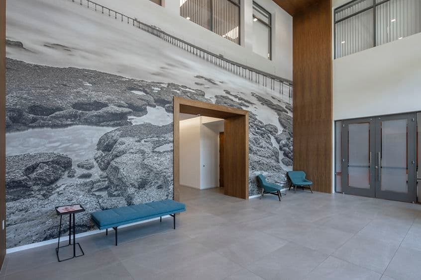 Interior photography of the building lobby at Torrey View - 10590 West Ocean Air Drive after reinvestment in San Diego, CA