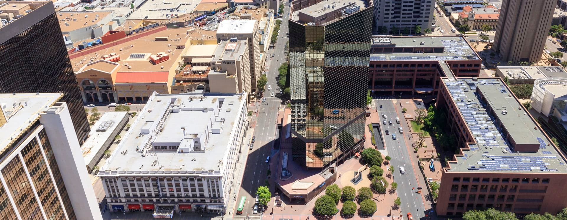 Aerial view of 101 West Broadway office building.