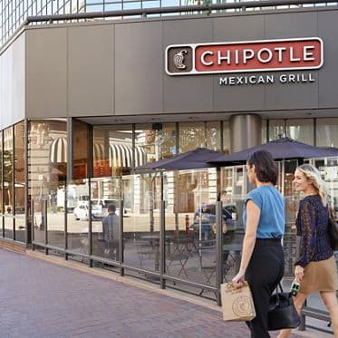 Exterior view of Chipotle at 101 West Broadway in San Diego, CA.