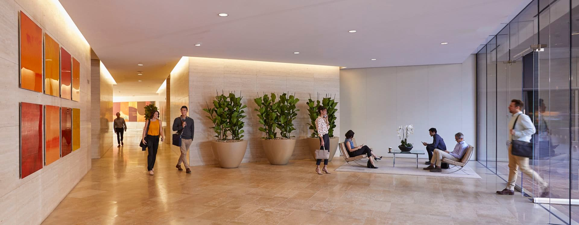 Interior view of lobby in 101 West Broadway in San Diego, CA.