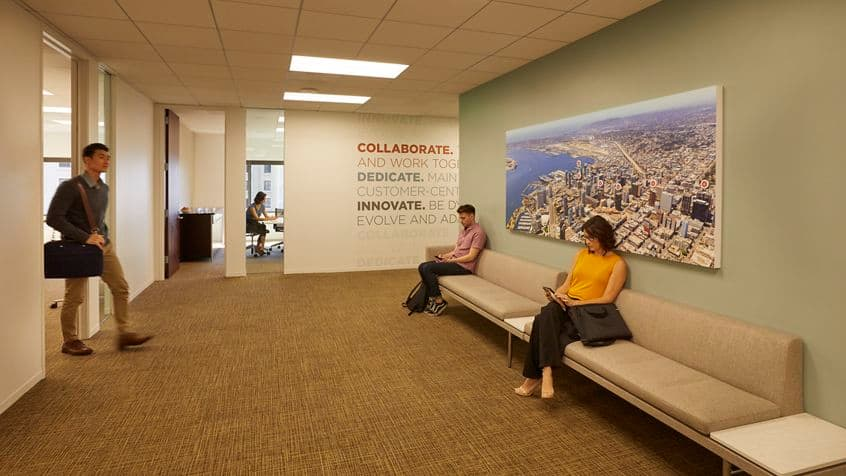 Interior view of Conference Center Reception at 101 West Broadway in San Diego, CA.