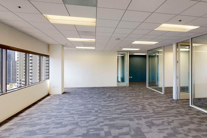 Interior view of flex workplace+ suite 1270 at 101 West Broadway, in San Diego, California.