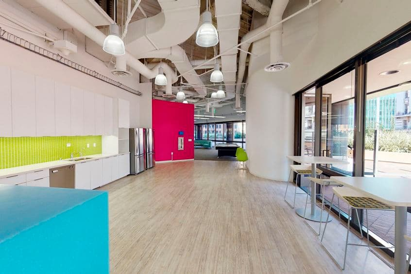 Interior view of flex workplace+ suite 200 at 101 West Broadway, in San Diego, California.