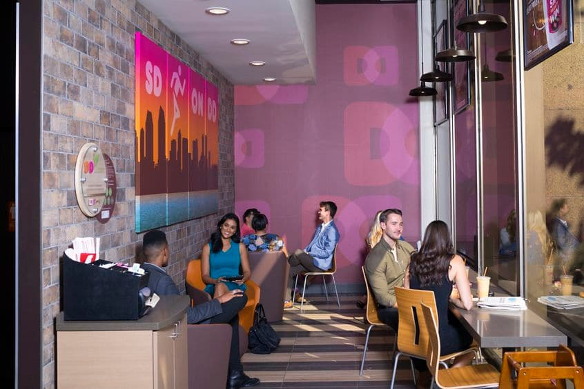 Lifestyle photography of Dunkin' Donuts amenity offering at 225 Broadway, San Diego, Ca