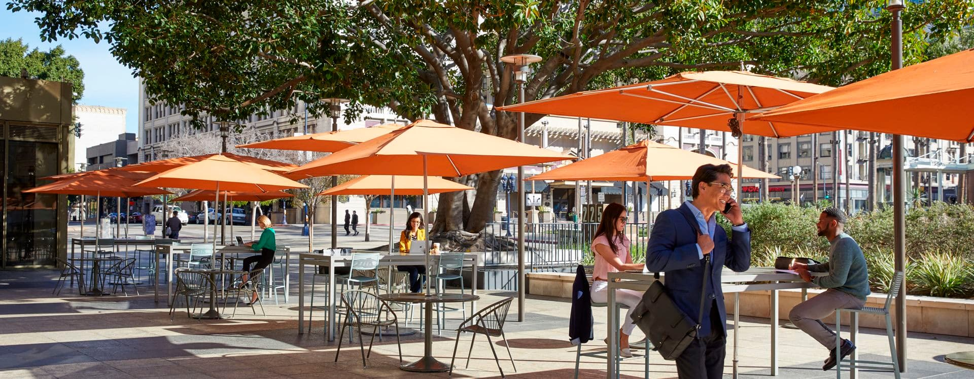 Lifestyle view of outdoor workspace at 225 Broadway in San Diego, CA.