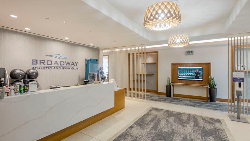 Interior view of  lobby at 501 W Broadway Athletic Swim Club in San Diego, CA.