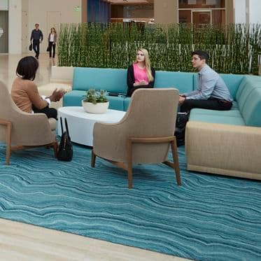 Lifestyle photography of the lobby at 501 West Broadway in San Diego, CA
