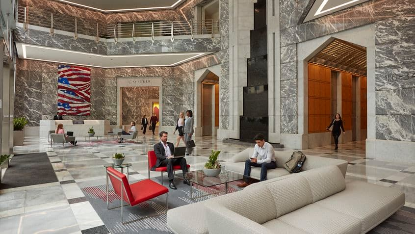 Lifestyle photography of the lobby at One America Plaza - 600 West Broadway in San Diego, CA