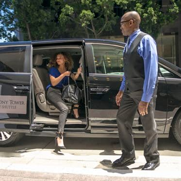 Photography of shuttle service at Symphony Towers, 750 B Street, San Diego, CA 92101