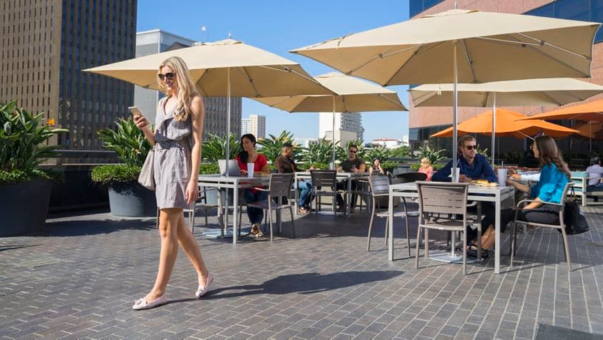 Lifestyle photography of the Commons at Wells Fargo Plaza, 401 B street, San Diego, Ca