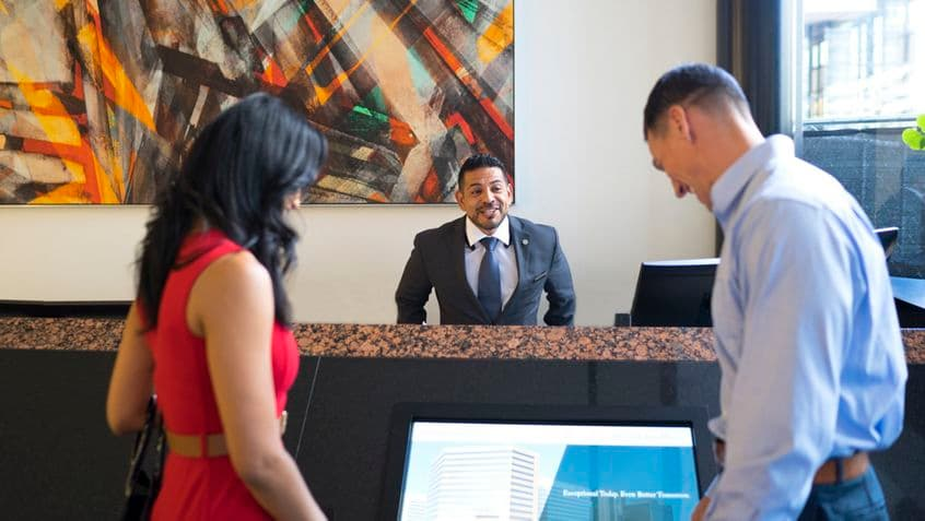 Lifestyle photography of the lobby at Wells Fargo Plaza, 401 B Street, San Diego, Ca