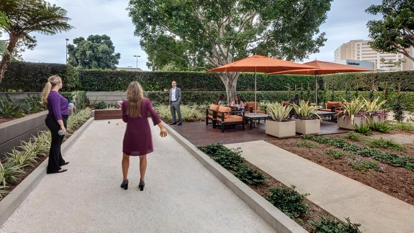 Outdoor workspace at La Jolla Gateway..