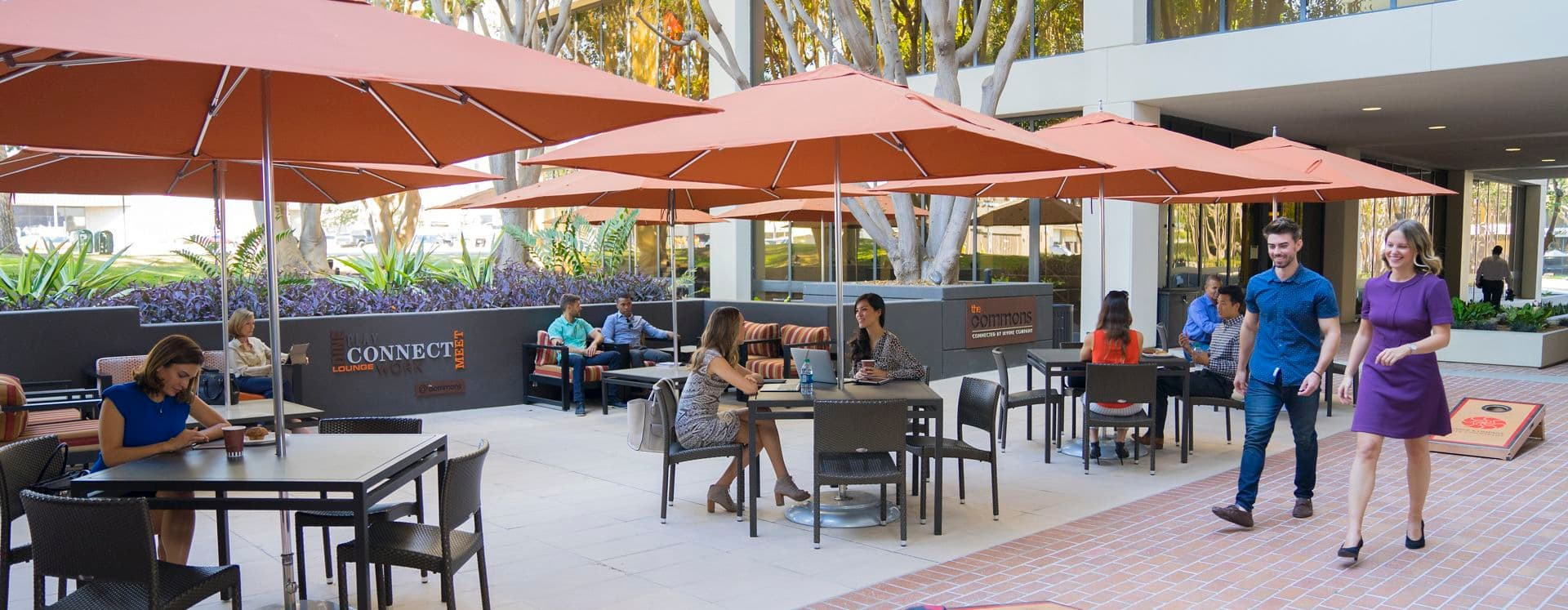 Lifestyle photography of the Commons, at La Jolla Gateway, 9171 Town Center Drive, San Diego, Ca
