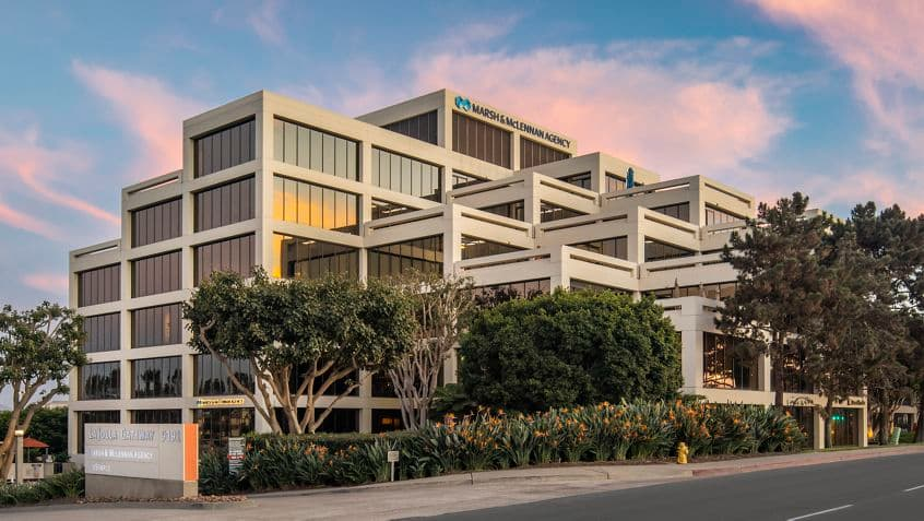 Exterior view of 9171 Towne Centre Drive at La Jolla Gateway in San Diego, CA.