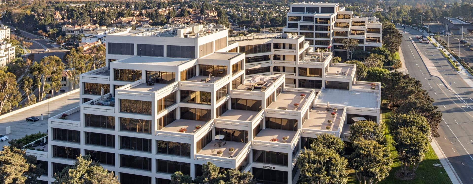 Aerial view of 9191 Towne Centre Drive at La Jolla Gateway in San Diego, CA.