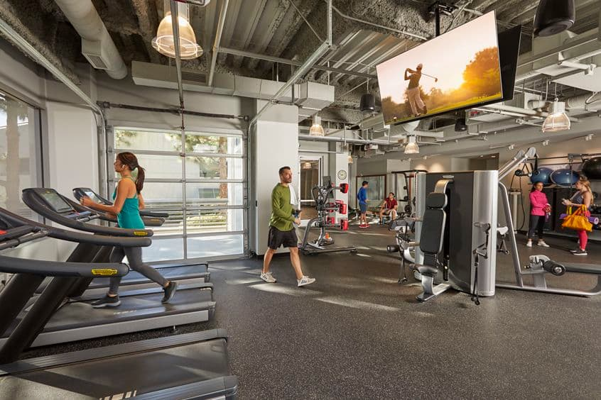 Interior view of Fitness Center at La Jolla Reserve in San Diego, CA.