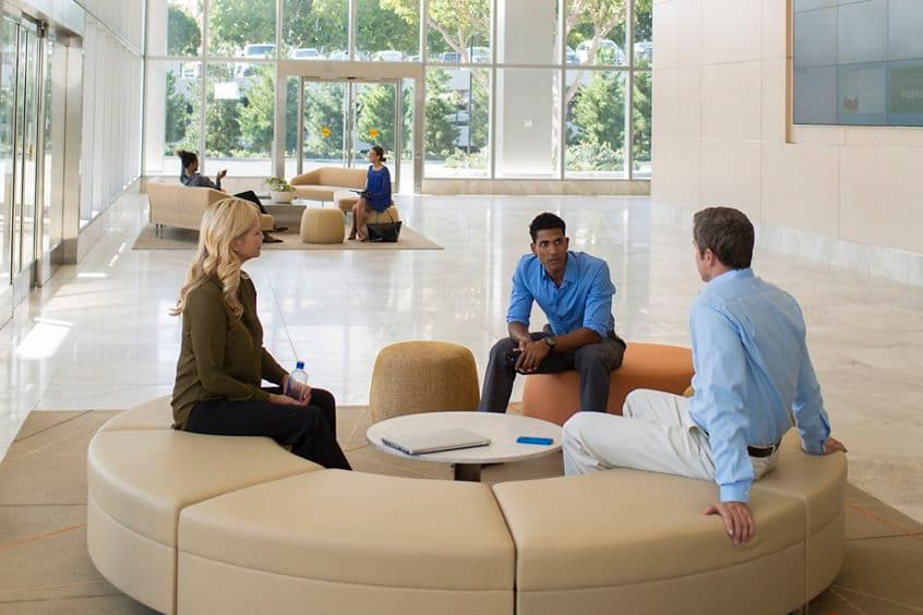 Lifestyle photography of the lobby at One La Jolla Center - 4655 Executive Drive, San Diego, CA