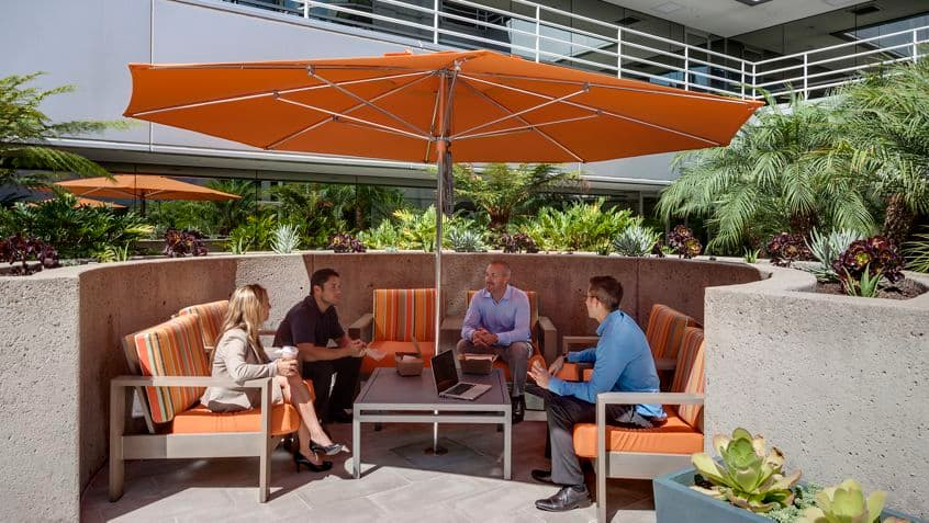 Outdoor workspace at Park Plaza.