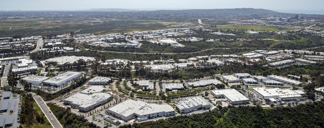 Aerial photography of Canyon Ridge Technology Park in San Diego, CA