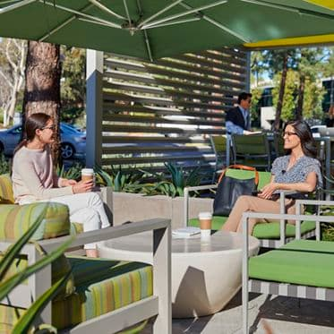 Lifestyle view of outdoor workspace in 9717/9727 Pacific Heights Blvd in San Diego, CA.