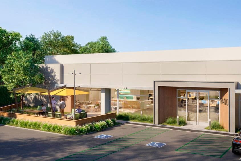 Rendering view of 1400 Terra Bella exterior in Terra Bella, in Mountain View, California.