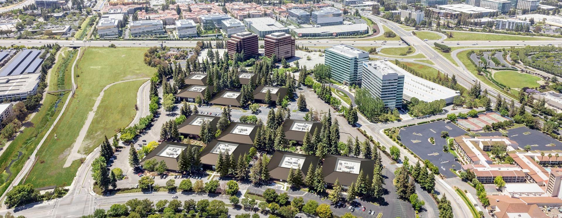 Aerial view of Santa Clara Park Rooftop, in Santa Clara, California.