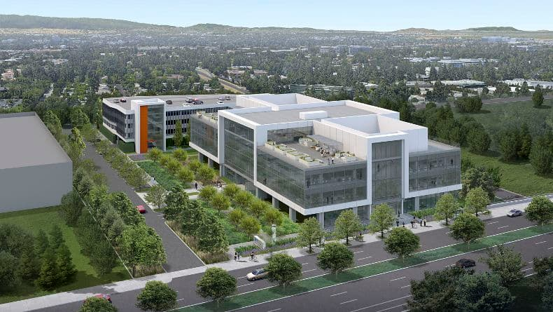 Aerial rendering of 275 North Mathilda in Sunnyvale, CA.