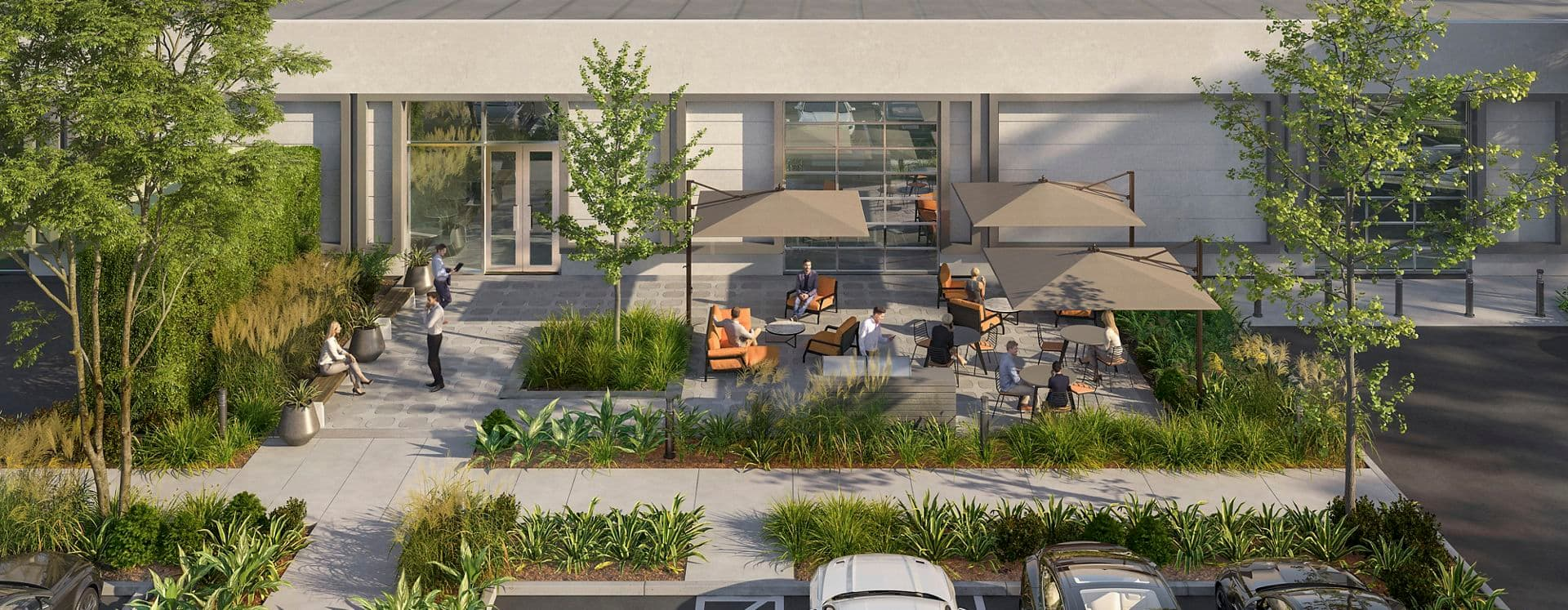 Exterior rendering of 305 North Mathilda in Sunnyvale, Silicon Valley, Ca