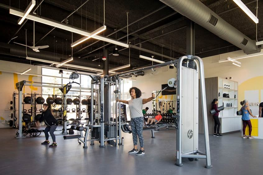View of people working out at Kinetic Fitness Center at Pathline Park in Sunnyvale, CA.