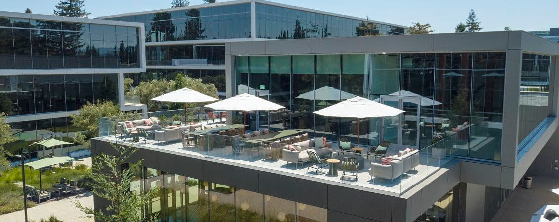 Aerial view of Amenity B Building at Pathline Park in Sunnyvale, CA